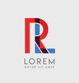 rl logo letters with blue and red gradation vector image vector image