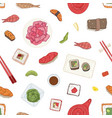 seamless pattern with japanese sushi sashimi vector image vector image