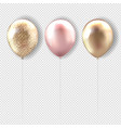 set pink and golden balloon transparent background vector image vector image