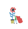 small woman gardening vector image vector image