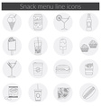 Snack Menu line icons set of food drink coffee vector image vector image