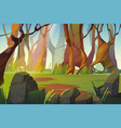 spring landscape forest glade with green grass vector image
