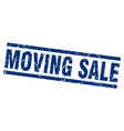 square grunge blue moving sale stamp vector image vector image
