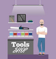 tools shop banner with instruments vector image vector image