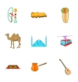 Tourism in Turkey icons set cartoon style vector image vector image