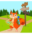 traveler squirrel follows route vector image vector image