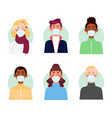 variety people with face masks vector image vector image