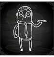 Waitor Drawing on Chalk Board vector image