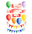 watercolor garland and balloons set vector image