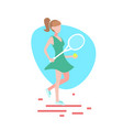 woman tennis player hold racket white background vector image vector image