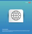 world globe icon - blue sticker button vector image vector image
