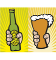 hand holding a glass of beer and green beer bottle vector image