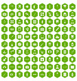 100 doctor icons hexagon green vector image vector image
