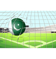 a ball hitting a goal with pakistan flag vector image