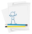 A paper with a drawing of a boy standing vector image vector image
