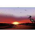 a sunset with a flock birds vector image