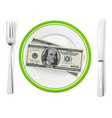 banknotes on a plate on white vector image vector image
