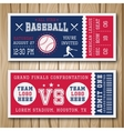 Baseball Blue Red Tickets vector image vector image