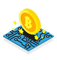 bitcoin coin mining cryptocurrency isometric vector image vector image