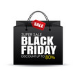 black friday shopping bag and sale tag on white vector image vector image