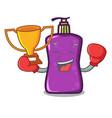 boxing winner shampo mascot cartoon style vector image vector image