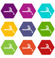 burning match icon set color hexahedron vector image vector image