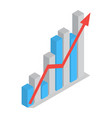 business arrow develop graph icon isometric style vector image