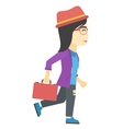 Business woman walking with briefcase vector image vector image
