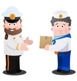 captain and sailor with a box of cartoon funny vector image vector image