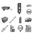 car vehicle monochrome icons in set collection vector image vector image