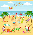 cartoon image of people in festive mood on beach vector image vector image