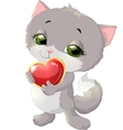 cats and heart vector image vector image
