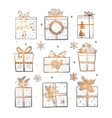 christmas gift boxes on white glowing background vector image vector image