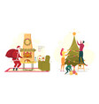christmas new year set with santa and happy family vector image