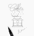 coffee pen line poster spirit vector image vector image