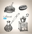 Coffee set bean bag mill cezve vector image vector image