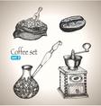 Coffee set bean bag mill cezve vector image
