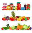 collection borders with preserve food vegetables vector image vector image