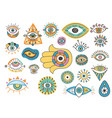colorful eyes talisman icons isolated on white vector image
