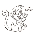 Cute cartoon sitting little monkey vector image vector image