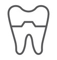 damaged tooth line icon dentist and dental vector image