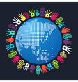 Diversity human hand Asian world vector image