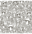 Doodle mushrooms seamless pattern vector image vector image