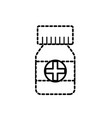 dotted shape bottle pills to medical treatment vector image vector image