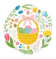 easter basket with eggs and chickens vector image