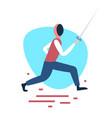 fencing man training swordsman white background vector image vector image
