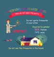 fireworks safety infographic forbidden in houses vector image vector image