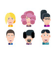 flat characters portrait set vector image vector image
