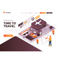 flat color modern isometric concept - time to vector image