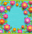 flowers on a blue wooden plank background vector image vector image